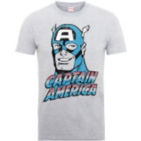 Marvel Comics Captain America Distressed Mens Grey T-Shirt - M - Grey