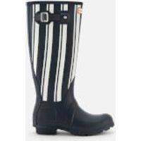 Hunter Women's Original Garden Stripe Tall Wellies - Navy/White - UK 8 - Blue