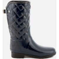 Hunter Women's Refined Gloss Quilt Short Wellies - Navy - UK 6 - Blue