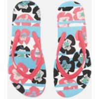 Hunter Womens Original Floral Stripe Printed Flip Flops - Floral Stripe/Peony - UK 5 - Pink