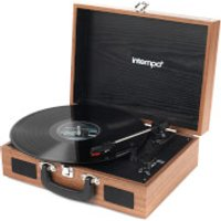 Intempo 3 Speed Bluetooth Turntable with Built In Speakers   Brown