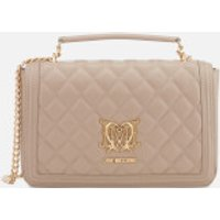 Love Moschino Womens Quilted Shoulder Bag - Taupe