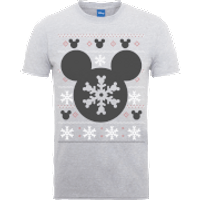 Disney Mickey Mouse Mickey Christmas Mens Grey T-Shirt - L - Grey