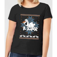Disney Frozen Olaf And Snowmen Women's Black T-Shirt - S - Black