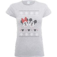 Disney Mickey And Minnie Mouse Christmas Womens Grey T-Shirt - L - Grey