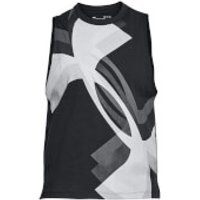 Under Armour Womens Muscle Overlay Logo Tank Top - Black - L - Black