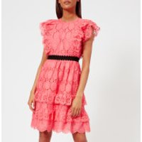 Perseverance London Perseverance London Women's Clover Embellished Anglaise Ruffled Mini Dress - Coral Pink - UK 12 - Pink