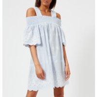 Perseverance London Womens Bluebell Pinstripe Smocked Mini Dress - Sea - XS - Blue