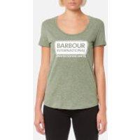 Barbour International Womens Track T-Shirt - Khaki Marl - UK 8 - Green