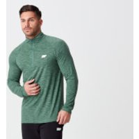 Performance Long-Sleeve ¼ Zip-Top - XS - Dark Green Marl