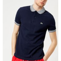 Lacoste Mens Collar Detail Polo Shirt - Navy Blue/White - L - Navy