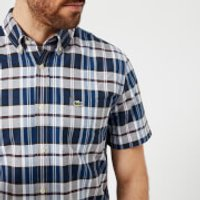 Lacoste Mens Short Sleeved Checked Shirt - Marine - M - Blue