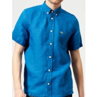 Lacoste Mens Short Sleeved Linen Shirt - Electric - L - Blue