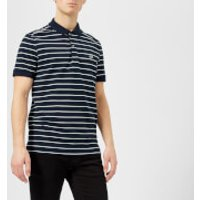 Lacoste Men's Short Sleeved Striped Polo Shirt - Navy Blue/White-Green - L - Navy