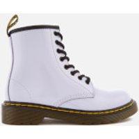Dr. Martens Kids Delaney Patent Lamper Leather 8-Eye Lace Up Boots - Purple Heather - UK 10 Kids - Purple