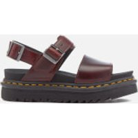 Dr. Martens Women's Voss Double Strap Leather Sandals - Charro - UK 4 - Burgundy