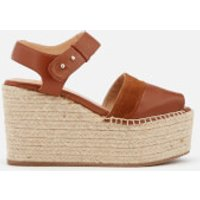 Castaer-Womens-Enea-Leather-Wedged-Sandals-Cuero-UK-5-Tan