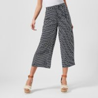 MICHAEL MICHAEL KORS Womens Wide Leg Crop Pants - True Navy/White - US 6/UK 10 - Blue