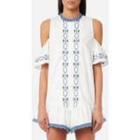 Foxiedox Womens Spellgirl Embroidery Romper - White/Blue - S - White