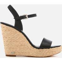 MICHAEL MICHAEL KORS Womens Jill Tumbled Leather Wedged Sandals - Black - US 6/UK 3 - Black