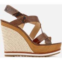 MICHAEL MICHAEL KORS Womens Mackay Embossed Croc/Leather Wedged Sandals - Luggage - US 9/UK 6 - Tan