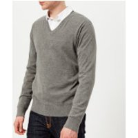 Michael Kors Mens Sleek Cotton Emb. Mk V Neck Long Sleeve Sweater - Ash Melange - M - Grey