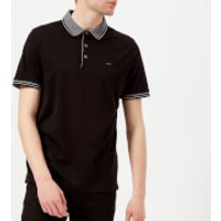 Michael Kors Mens Greenwich Logo Jacquard Short Sleeve Polo Shirt - Black - XXL - Black
