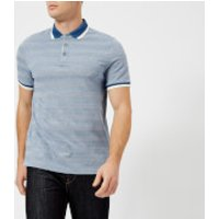 Michael Kors Men's Oxford Feeder Stripe Knit Collar Polo Shirt - Ocean - S - Blue
