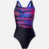 adidas Fit 1 Piece Palm Print Swimsuit - Legend Ink - 34 Inch - Blue