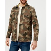 Barbour Heritage Mens Camo Button Through Overshirt - Olive - XL - Green