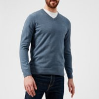 Barbour Mens Pima Cotton V-Neck Knitted Jumper - Dark Chambray - XXL - Blue