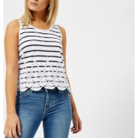 Superdry Womens Pacific Broderie Stripe Tank Top - Liner White/Marina Navy Stripe - UK 8 - White