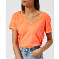 Superdry Womens Burnout Vee T-Shirt - Neon Coral - UK 12 - Orange