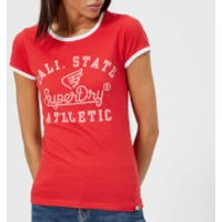 Superdry Women's State Athletic Ringer Entry T-Shirt - Ahoy Red - UK 14 - Red