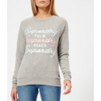 Superdry Womens Applique Raglan Crew Sweatshirt - Grey Marl - UK 12 - Grey