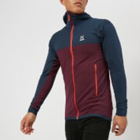 Haglofs Mens Lithe Hooded Fleece Jacket - Aubergine/Tarn Blue - M - Red
