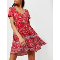 MINKPINK Womens Lucia Button Front Mini Dress - Red - L - Red