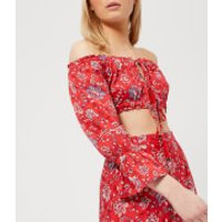 MINKPINK Womens Lucia Off the Shoulder Top - Red - L - Red