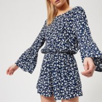 MINKPINK Womens Shady Days Crew Neck Playsuit - Blue - S - Blue