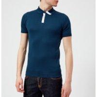 John Smedley Mens Duxford 30 Gauge Sea Island Cotton Polo Shirt - Indigo/White - XL - Blue