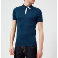 John Smedley Men's Duxford 30 Gauge Sea Island Cotton Polo Shirt - Indigo/White - L - Blue