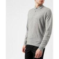 John Smedley Men's Belper 30 Gauge Merino Long Sleeve Polo Shirt - Silver - XL - Grey