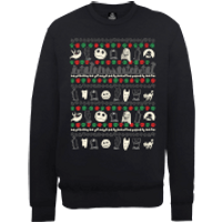 Disney The Nightmare Before Christmas Jack Sally Zero Faces Black Sweatshirt - XL - Black