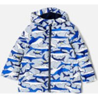 Joules Boys' Skipper Waterproof Coat - Shark Dive Stripe - 5 Years - Blue