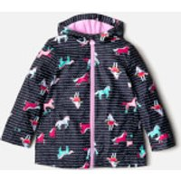 Joules Girls' Raindance Waterproof Coat - French Navy Sea Pony - 1 Year - Navy