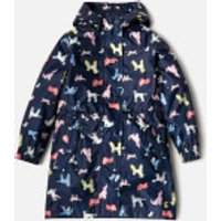 Joules Girls Golightly Waterproof Packaway Jacket - French Navy Dotty Dogs - 7-8 Years - Navy
