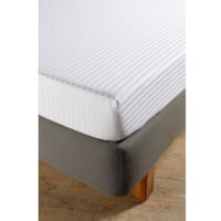 Christy 300TC Sateen Stripe Fitted Sheets - White - Double - White