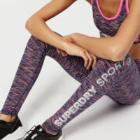 Superdry Sport Womens Space Dye Leggings - Miami Slub - UK 12 - Purple