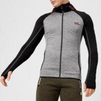 Superdry Sport Mens Athletic Raglan Zip Hoody - Mid Grey Grit-Black - XL - Grey