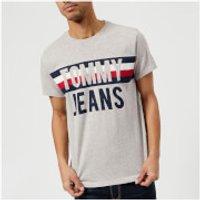 Tommy Jeans Mens Colorblock Logo T-Shirt - Light Grey Heather - XXL - Grey